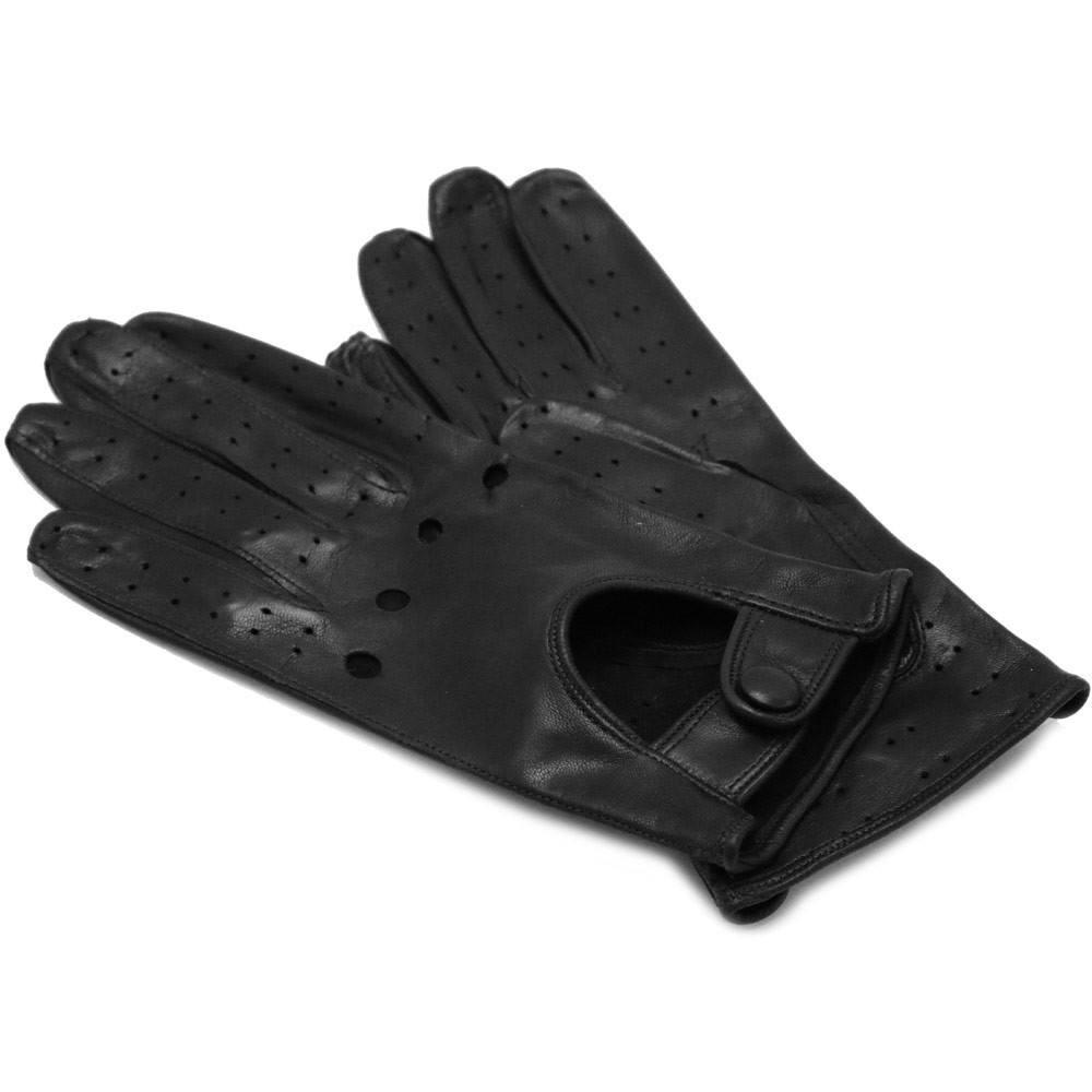 Floto women's black leather driving gloves