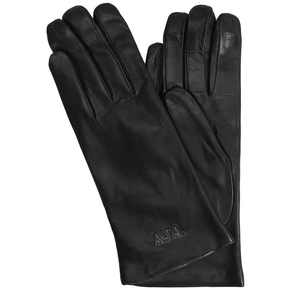 Floto women's cashmere lined black leather gloves monogram