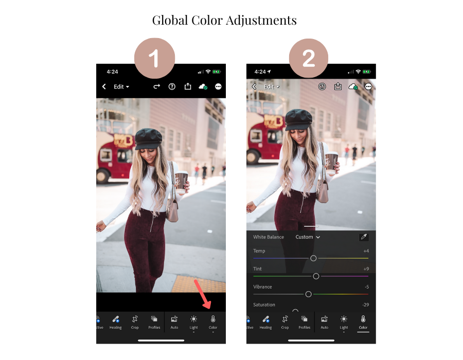 adjust colors globally in lightroom mobile app