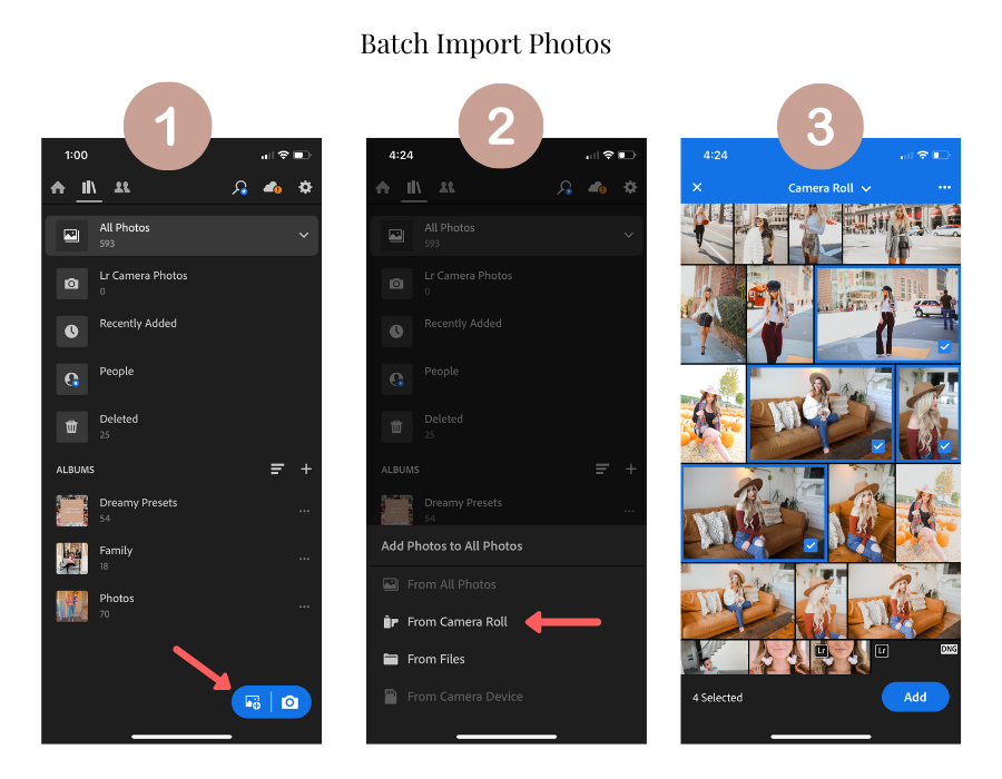 Lightroom app: batch import photos