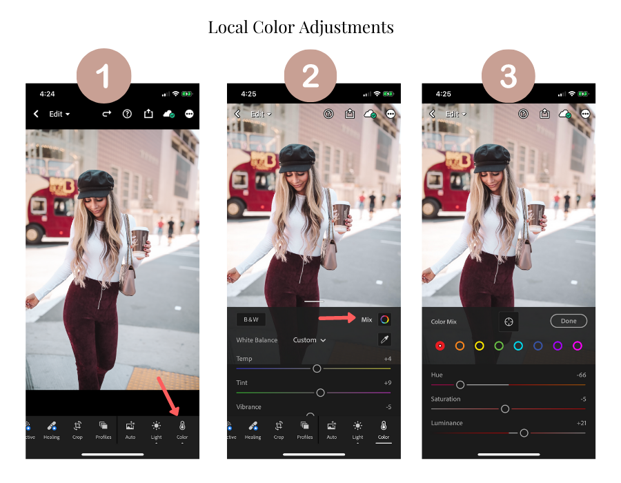adjust colors locally in lightroom app
