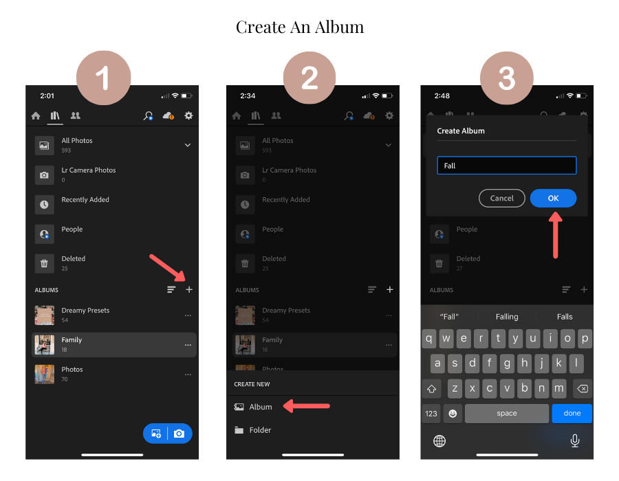 create an album in lightroom mobile app