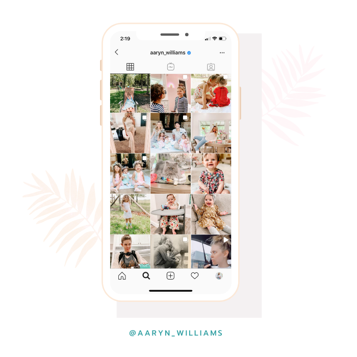 @aaryn_williams instagram feed edited with the Dreamy White Lightroom preset