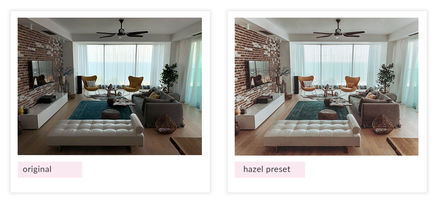hazel preset before and after