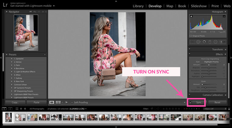 lightroom sync feature