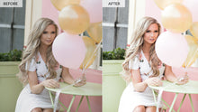Before and after photo of model edited with the pastel Lightroom preset collection.