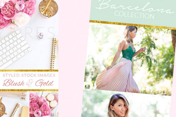 Gold and pink pinterest pin photoshop templates