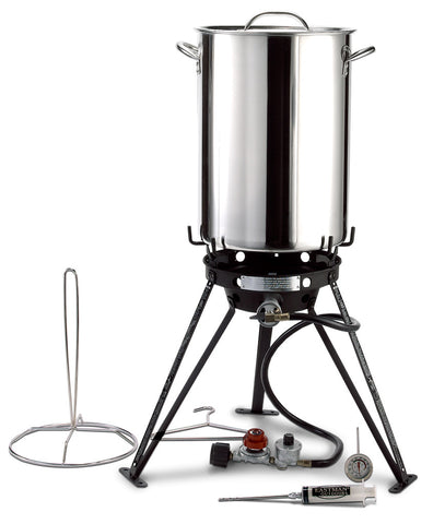 7-Piece, 30-Quart Stainless Steel Outdoor Deep-frying and Boiling Set, Outdoor Deep Frying and Boiling - Eastman Outdoors