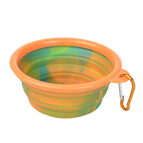 COMPACT FOLDING BOWL FOR DOG/PET FOOD AND WATER - TIE DYE COLORS
