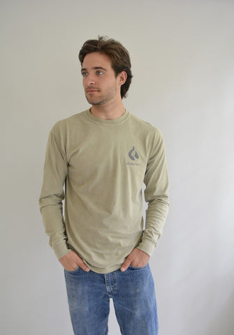 Elephant Classic Garment Dyed Logo Long Sleeve Tee