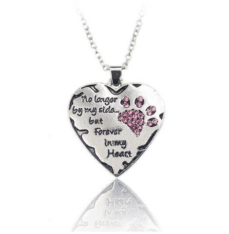 No longer by my side but forever in my heart catdog paw pendant no longer by my side but forever in my heart catdog paw mozeypictures Gallery