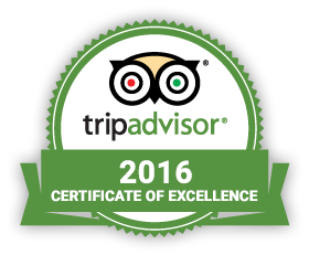 Tripadvisor award 2016 Certificate of Excellence