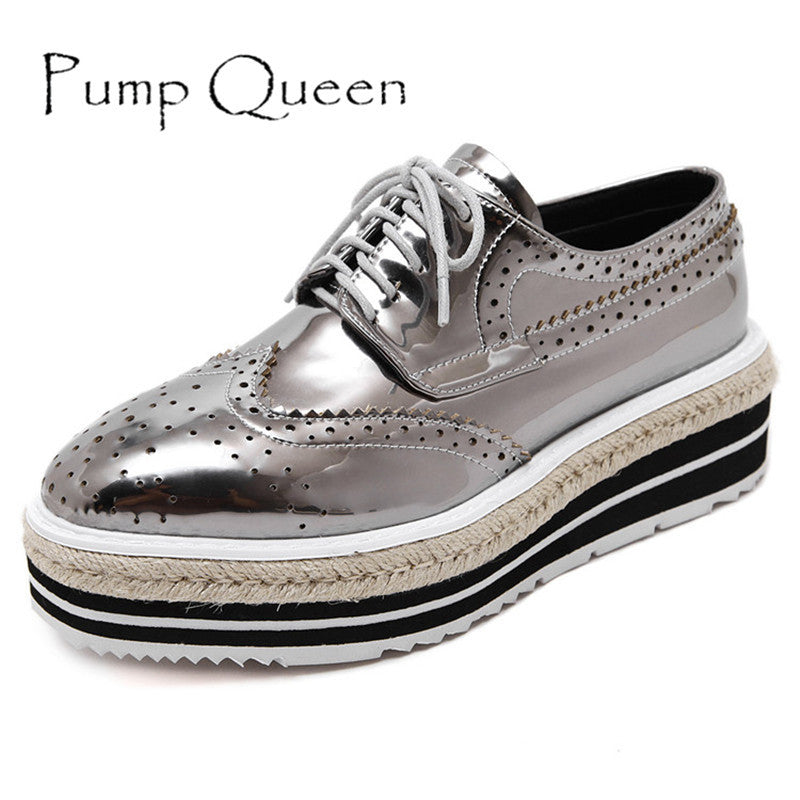 964870f2 Women's Platform Lace-Up Wingtips Square Toe Oxfords Shoe – Sayestore