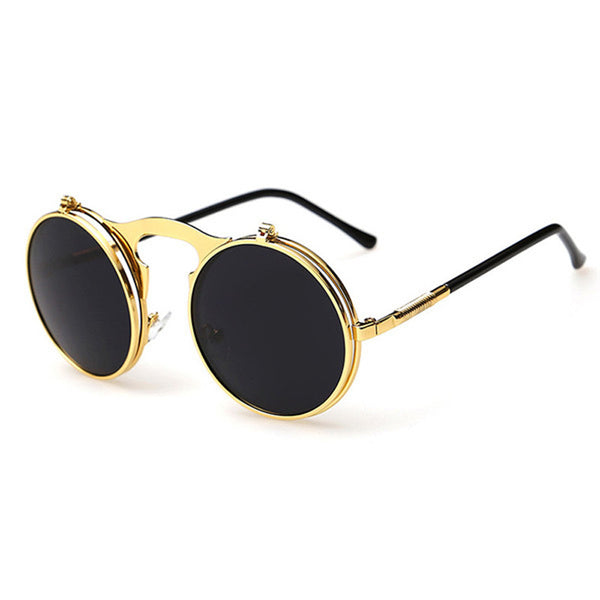 Vintage Steampunk Sunglasses Round Designer Steam Punk Metal Glasses Women And Men Retro Circle Sun Glasses