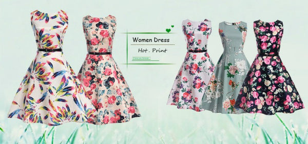 Fashion O-Neck Women Dress Flower Spring / Summer, Dress Vintage Female Clothes Casual