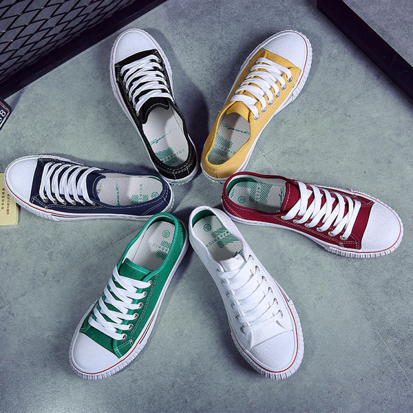 NEW ...  ARRIVAL!!  6 Colors Unisex Canvas Shoes Men and Women, Casual Shoes Lace Up Flats Shoes