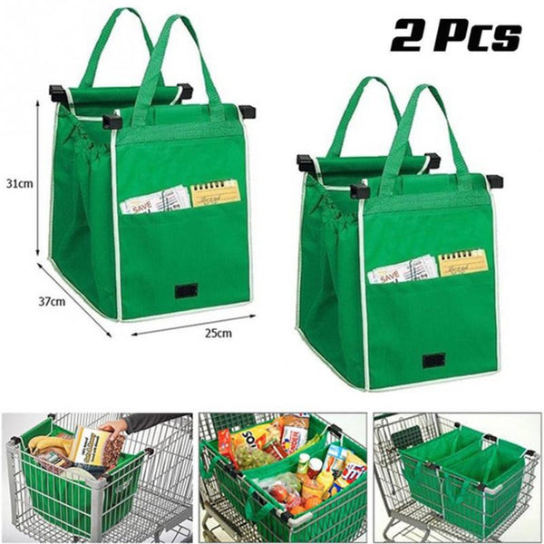 2pcs As Seen On TV Grocery Grab Shopping Bag Foldable Tote Eco-friendly Reusable Large Trolley Supermarket Large Capacity Bags,Holds Up To 40 lbs Storage Bags