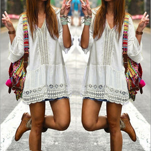 Bohemian Style Women White Dress Sexy Casual V Neck 3/4
