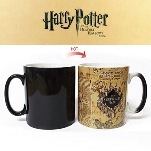 Mugs Marauders Map Mug Heat Disappearing Mug Morph Milk Cup Coffee Travel Mugs Water Tea Cup Heat Change Color Cups
