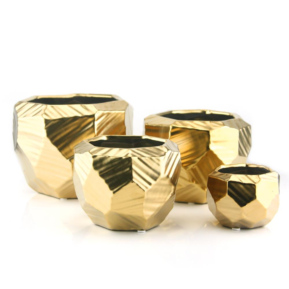 Gold Ceramic Geometric Planter/Vase