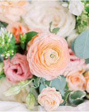 Load image into Gallery viewer, spring charmer bouquet zuzus petals florist chicago bridgeport blush pink white peach  beige cream ivory white flowers roses ranunculus lisianthus greenery