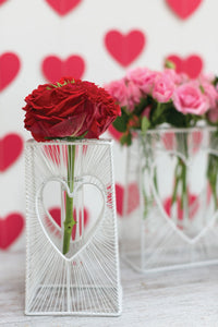 White Heart Stand Vase Collection - Valentine's Day