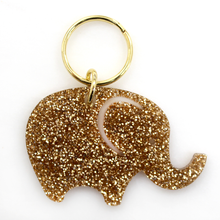 Load image into Gallery viewer, Gold Glitter Keychain - ELEPHANT