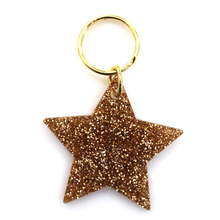 Load image into Gallery viewer, Gold Glitter Keychain - STAR
