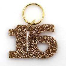 Load image into Gallery viewer, Gold Glitter Keychain - SWEET 16