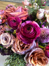 Load image into Gallery viewer, bountiful blooms bouquet zuzus petals florist chicago bridgeport purple flowers roses ranunculus mauve greenery