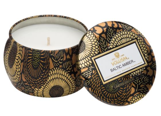 BALTIC AMBER CLOVER MINI TIN CANDLE / Voluspa
