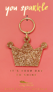 Gold Glitter Keychain - CROWN