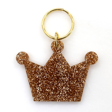 Load image into Gallery viewer, Gold Glitter Keychain - CROWN