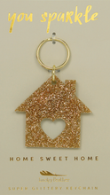 Load image into Gallery viewer, Gold Glitter Keychain - HOUSE