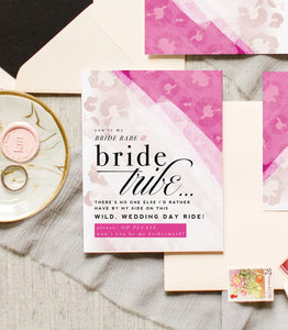 Bride Tribe, Will You Be My Bridesmaid? Wedding Card - Hot Pink Leopard Print Card