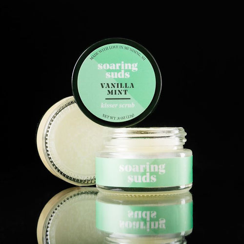 lip scrub vanilla mint soaring suds sold exclusively at Zuzu's petals florist boutique gift shop in chicago. Bridgeport neighborhood on halsted street. Shop local. Shop woman owned.