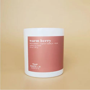 Warm berry candle North+ 29. Zuzu's Petals Chicago florist boutique exclusively sold. Perfect gift.
