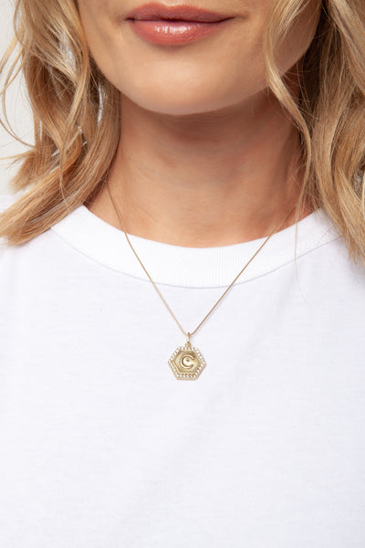 gold hexagon initial letter C necklace charm