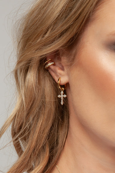 harmony earring charm on mel huggie paired with ear cuffs. ear party