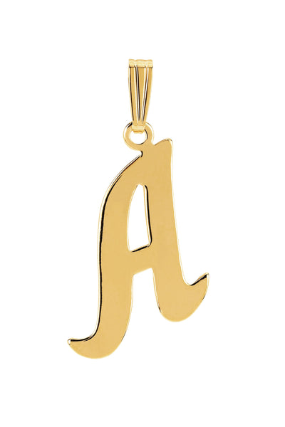 gold gothic inital letter A necklace charm