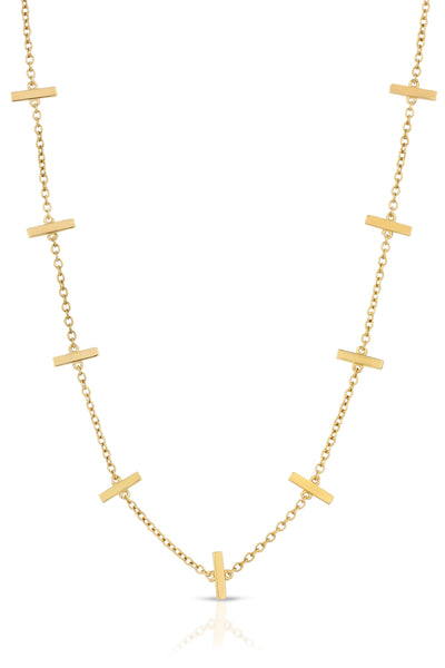 gold necklace with bars