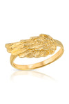 thin gold pinky ring/midi ring with an etched wing detail in gold