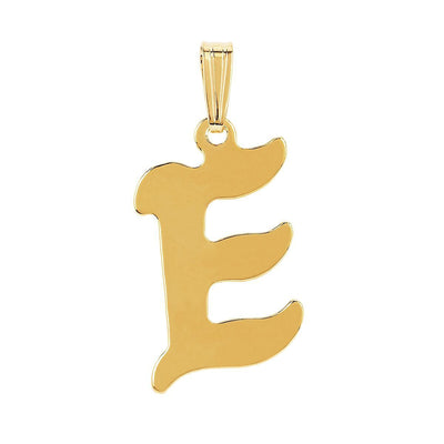 gothic initial letter E necklace charm