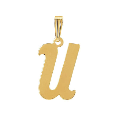 gothic initial letter U necklace charm