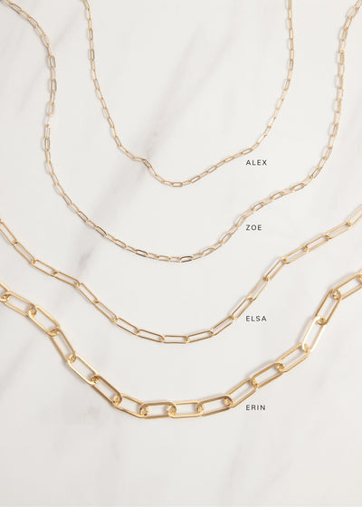 Comparison of the Alex, Zoe, Elsa, and Erin Chains/Necklaces