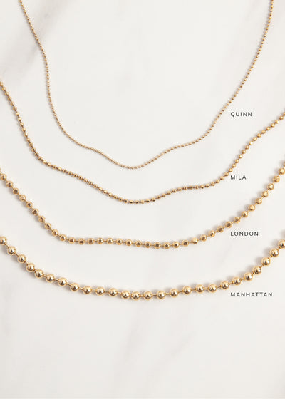 Comparison of the Quinn, Mila, London, and Manhattan Chains/Necklaces