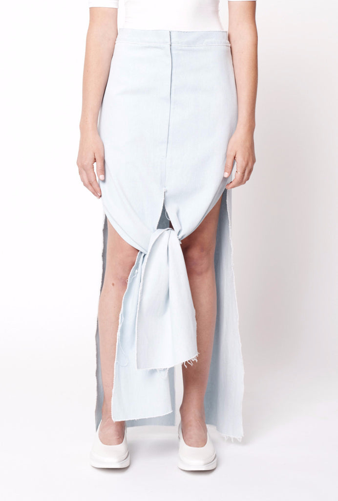 Denim Frayed Panel Skirt