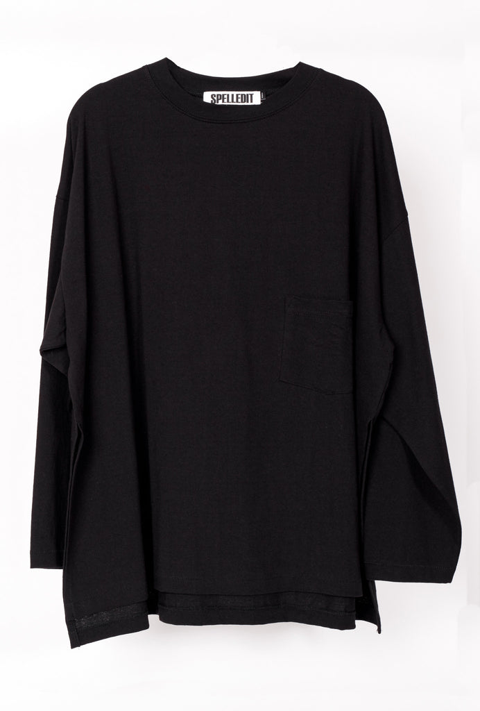 Side Vent Long Sleeve Pocket Tee
