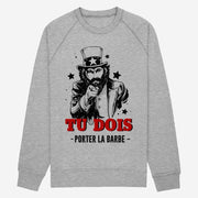 Sweat Tu dois porter la barbe - Homme par T-Pop