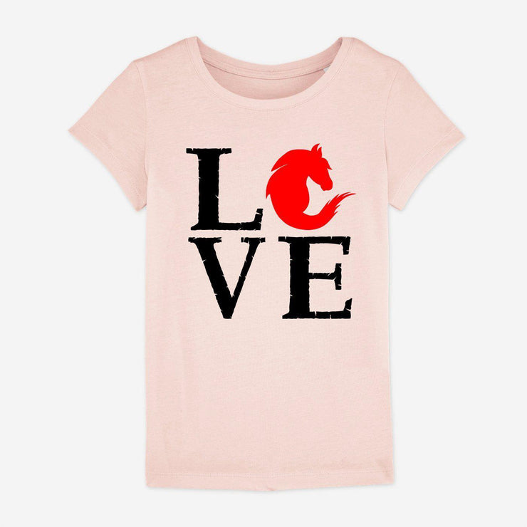 T-shirt Love cheval - Fille par T-Pop